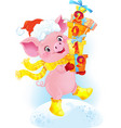 yellow earthy pig with gift boxes vector image vector image
