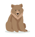 brown bear cartoon in flat design vector image vector image