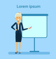 businesswoman pointing to empty white board vector image vector image