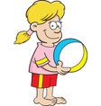 Cartoon girl holding a beach ball vector image vector image