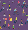cartoon people traveling seamless pattern vector image vector image