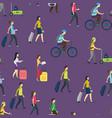 cartoon people traveling seamless pattern vector image