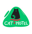 cat hotel banner with cute black kitten vector image