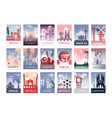city cards set landscape template flyer vector image vector image