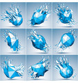 collection of 3d faceted blue cybernetic figures vector image vector image