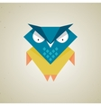 Cute little blue and yellow cartoon owl vector image vector image