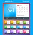 desk calendar planner template for 2017 year week vector image vector image
