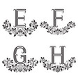e f g h vintage monograms in floral wreaths vector image