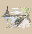 eiffel tower in watercolor style watercolor vector image