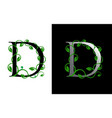 elegant d letter icon with luxury green leaf logo vector image vector image