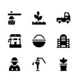 farming solid icons vector image