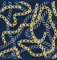 fashion seamless pattern with golden chains vector image
