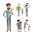 Father and kids together character vector image vector image