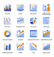 financial chart icons set in flat style vector image