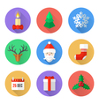 flat design christmas icons set vector image vector image