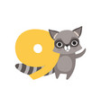 funny raccoon animal and number nine birthday vector image vector image