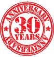 Grunge 30 years anniversary rubber stamp vector image