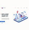 isometric intelligent smart city landing page vector image vector image