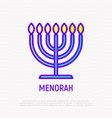 menorah thin line icon modern vector image vector image