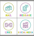 online communication bright round linear icons set vector image vector image