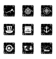 Pioneer icons set grunge style vector image vector image