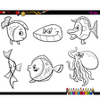 sea animals set coloring page vector image vector image