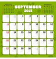 September Month Calendar 2015 vector image vector image
