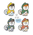 set cute siberian husky puppies in colorful vector image