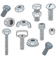 set of bolt and nut vector image