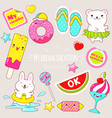 set of cute summer stickers in kawaii style vector image vector image