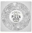 set of pizza cartoon doodle objects symbols and vector image