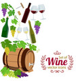 side vertical border with wine icons vector image