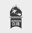 snowboard club logo label or badge template vector image vector image