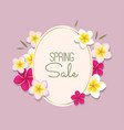 spring sale with frame and flowers vector image vector image