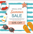 summer sale banner with sun glasses lifebuoy vector image