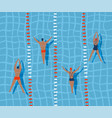 swimmers are swimming in swimming pool top view vector image