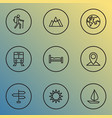 traveling icons line style set with planet bed vector image
