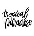 tropical paradise lettering phrase on white vector image vector image