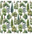 watercolor tree seamless pattern forest oak vector image