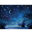 winter night blue vector image vector image