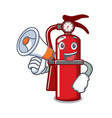 with megaphone fire extinguisher character cartoon vector image