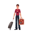 Young man in jeans and tshirt travelling with two vector image vector image