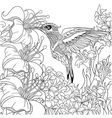 Zentangle stylized cartoon hummingbird vector image