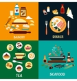 Set of flat food infographics vector image