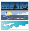 Set of flying airplanes banners for your text vector image