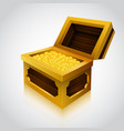 wooden treasure chest on white background vector image