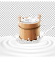 a wooden bucket with milk vector image vector image