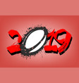 abstract number 2019 and a rugby ball from blots vector image vector image