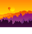 Abstract sunset silhouette mountain scenery vector image vector image