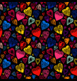 bright cartoon seamless pattern with hearts vector image vector image